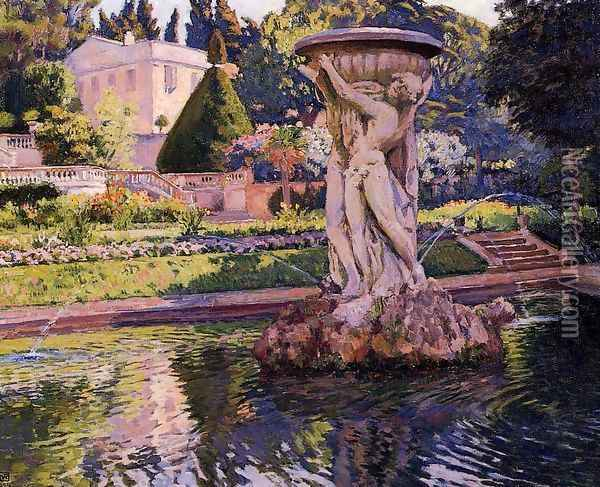 Garden with Villa and Fountain 1924 Oil Painting - William Merritt Chase