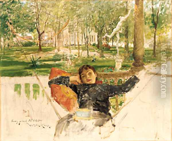 An Idle Afternoon Oil Painting - William Merritt Chase