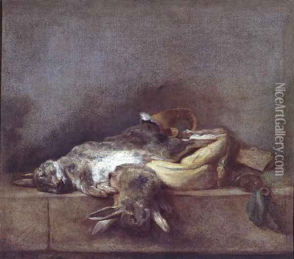 Still Life with Rabbits, a Gamebag and a Powder Horn, c.1755 Oil Painting - Jean-Baptiste-Simeon Chardin