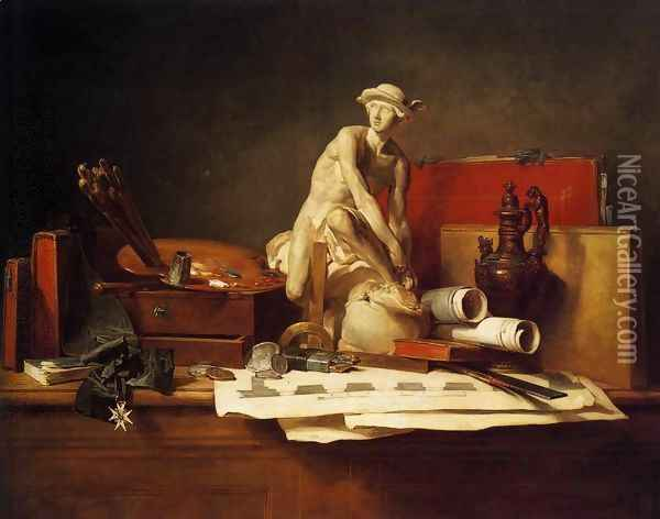 Still Life with the Attributes of the Arts, 1766 Oil Painting - Jean-Baptiste-Simeon Chardin