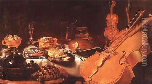 Still Life with Musical Instruments, 1623 Oil Painting - Pieter Claesz.
