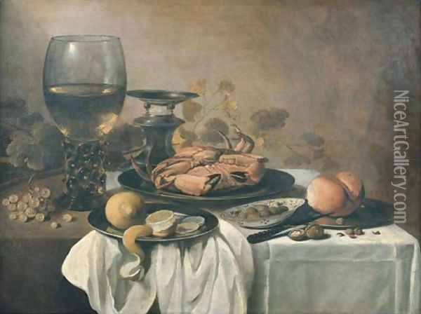 A crab on a pewter plate, a roemer, a partly-peeled lemon on a pewter platter, a bowl of olives, a bread roll and a knife on a pewter plate with grape Oil Painting - Pieter Claesz.