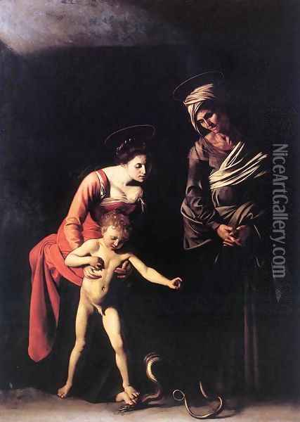 Madonna with the Serpent 1606 Oil Painting - Caravaggio