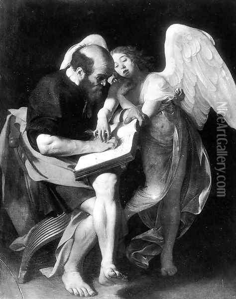 St. Matthew and the Angel 1602 Oil Painting - Caravaggio
