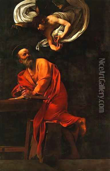 St. Matthew and the Angel Oil Painting - Caravaggio