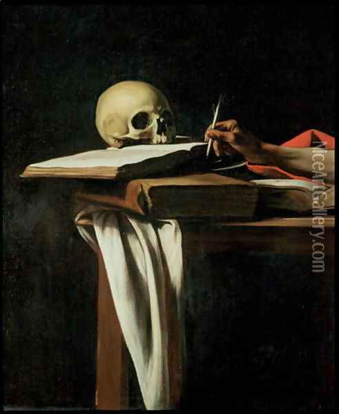 St. Jerome Writing, c.1604 (detail) Oil Painting - Caravaggio