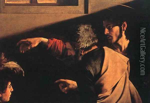 The Calling of Saint Matthew (detail 6) 1599-1600 Oil Painting - Caravaggio