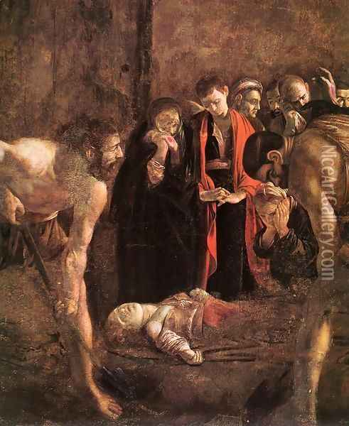 Burial of St Lucy (detail) 1608 Oil Painting - Caravaggio