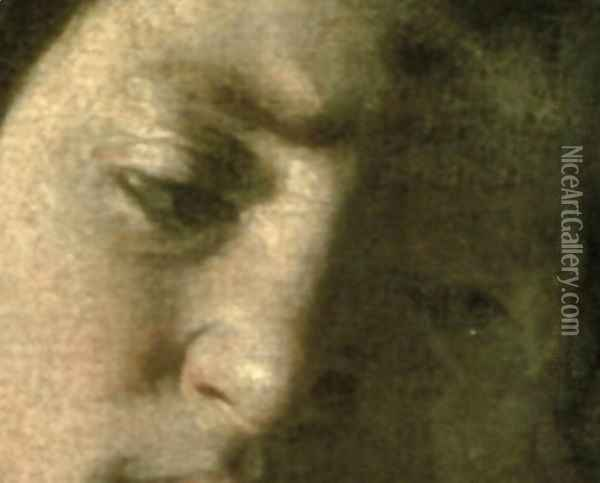 David with the Head of Goliath, 1606 (detail) Oil Painting - Caravaggio