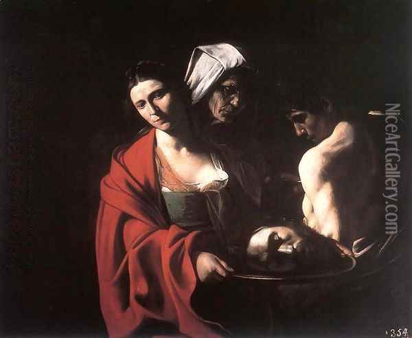 Salome with the Head of the Baptist c. 1609 Oil Painting - Caravaggio