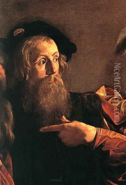 The Calling of Saint Matthew (detail 4) 1599-1600 Oil Painting - Caravaggio