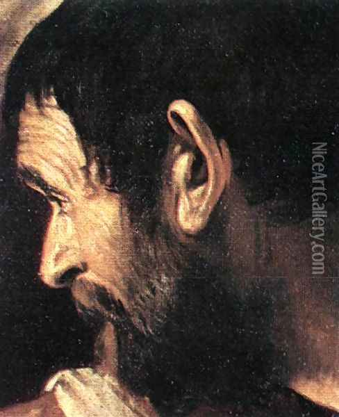 Supper at Emmaus (detail 2) 1606 Oil Painting - Caravaggio