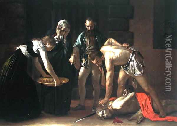 The Decapitation of St. John the Baptist, 1608 (detail) Oil Painting - Caravaggio