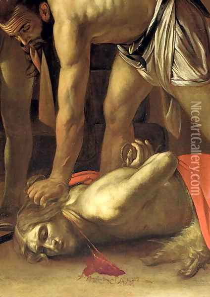 The Decapitation of St. John the Baptist, 1608 (detail-3) Oil Painting - Caravaggio
