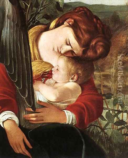 Rest on Flight to Egypt (detail 2) 1596-97 Oil Painting - Caravaggio