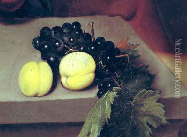 The Sick Bacchus, detail of peaches and grapes, 1591 Oil Painting - Caravaggio