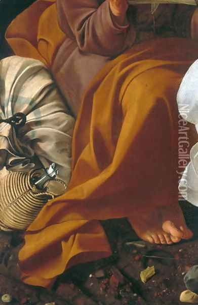 Rest during the flight into Egypt (detail-1) Oil Painting - Caravaggio