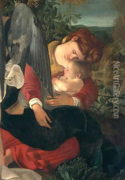 Rest during the flight into Egypt (detail-5) Oil Painting - Caravaggio