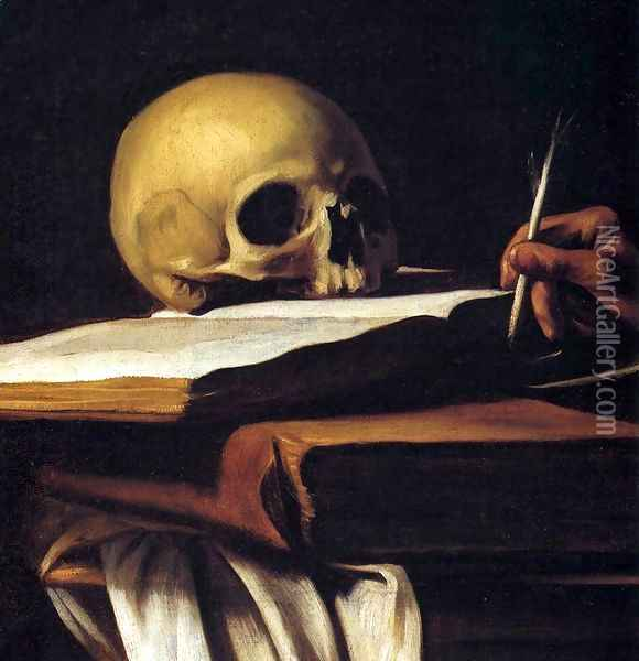 St Jerome (detail) Oil Painting - Caravaggio