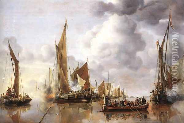 The State Barge Saluted by the Home Fleet 1650 Oil Painting - Jan Van De Capelle