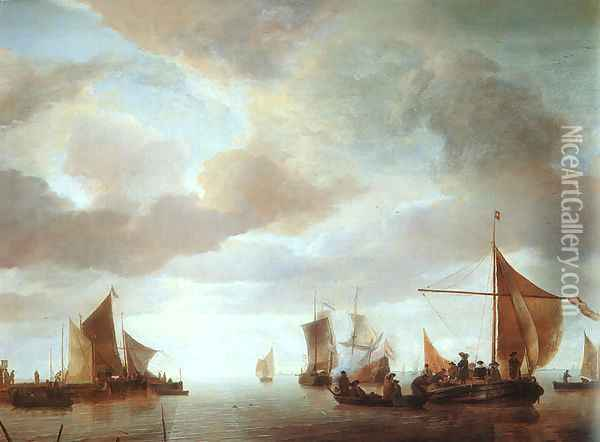 Ships on a Calm Sea near Land Oil Painting - Jan Van De Capelle