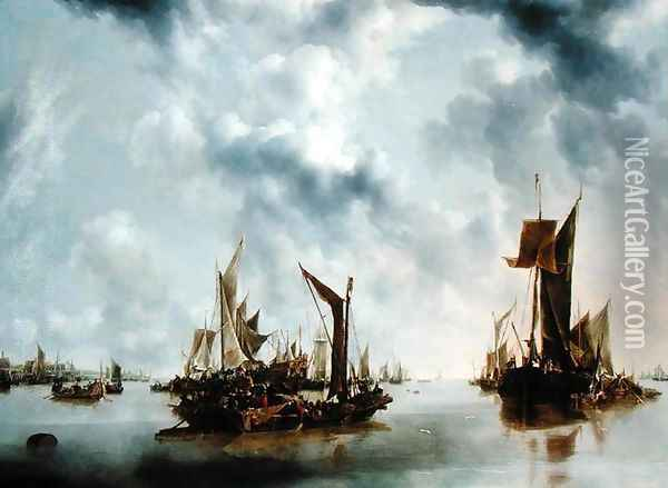 A Calm, 1654 Oil Painting - Jan Van De Capelle