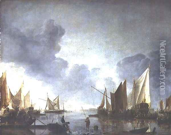 A calm, with a dignitary heralded in a state barge and fishermen in the foreground Oil Painting - Jan Van De Capelle