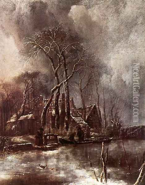 Winter Landscape 1650s Oil Painting - Jan Van De Capelle