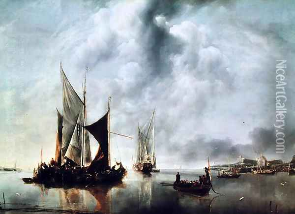 Calm or, Boats near the Coast, after 1651 Oil Painting - Jan Van De Capelle