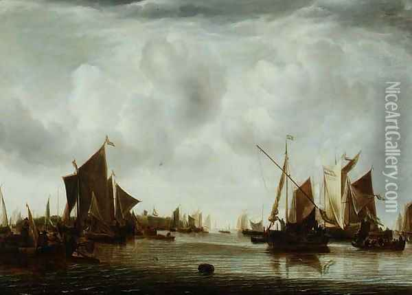 Ships at Anchor in a Calm Oil Painting - Jan Van De Capelle