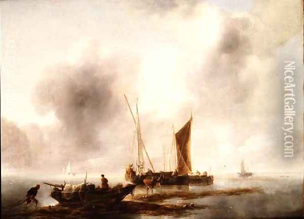 Fisherman unloading their catch in a calm Oil Painting - Jan Van De Capelle