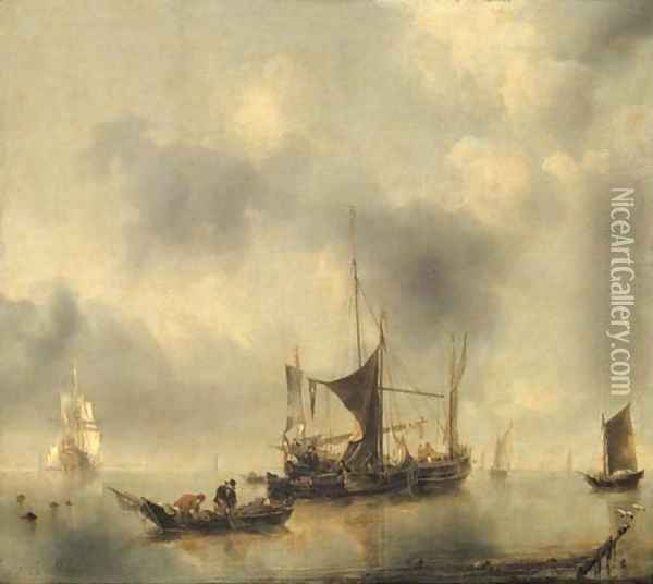 A kaag and a smak in a calm, with fishermen pulling in their catch from a rowing-boat in the foreground, a Dutch frigate and other boats beyond Oil Painting - Jan Van De Capelle