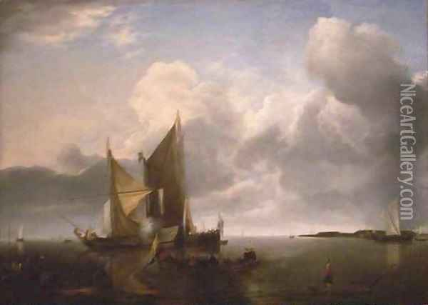 Ships in a Calm Oil Painting - Jan Van De Capelle