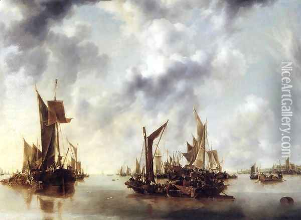 Calm Oil Painting - Jan Van De Capelle