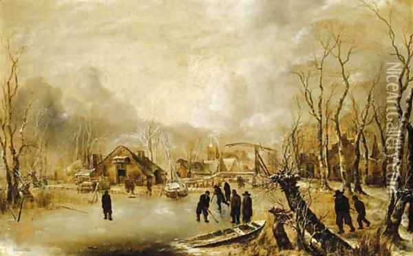 A winter landscape with skaters and kolf players on a frozen waterway by a village Oil Painting - Jan Van De Capelle