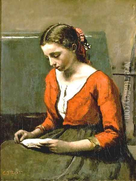 A Girl Reading Oil Painting - Jean-Baptiste-Camille Corot