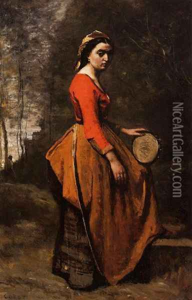 Gypsy with a Basque Tamborine Oil Painting - Jean-Baptiste-Camille Corot