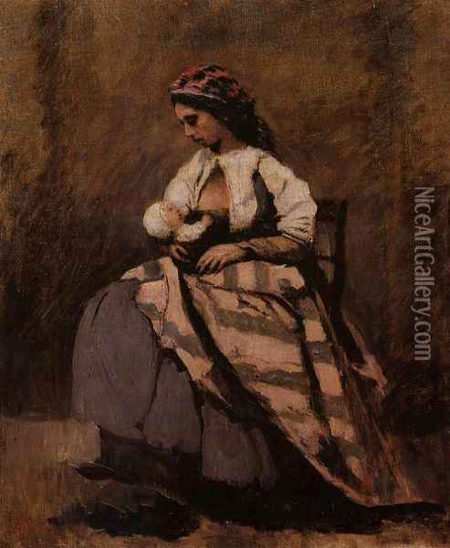 Mother Breast Feeding Her Child Oil Painting - Jean-Baptiste-Camille Corot