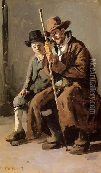 Two Italians, an Old Man and a Young Boy Oil Painting - Jean-Baptiste-Camille Corot