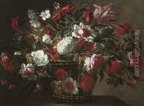 Tulips, Roses, Hydrangas And Other Flowers In A Wicker Basket On Aledge Oil Painting - Juan De Arellano