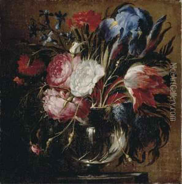 A Tulip, Carnations, Roses, Irises, Bluebells And Other Flowers Oil Painting - Juan De Arellano