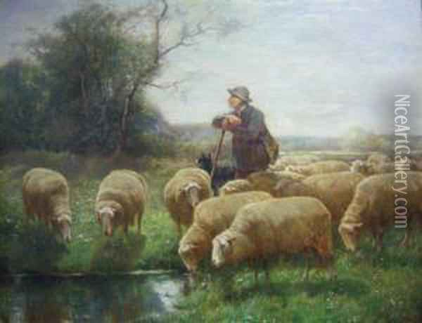 Depicting A Sheep Herder With His Flock Oil Painting - Franz De Beul