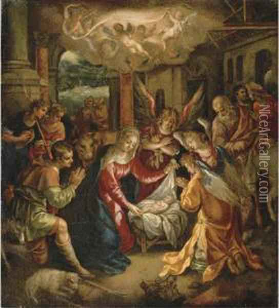 The Adoration Of The Shepherds With The Annunciation To Theshepherds Beyond Oil Painting - Hendrick De Clerck
