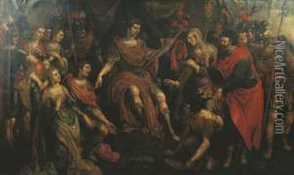 The Continence Of Scipio Oil Painting - Hendrick De Clerck