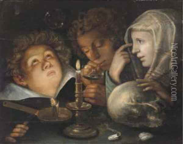 A Vanitas Allegory: Homo Bulla Est Oil Painting - Andries Jacobsz. Stock