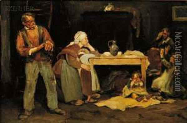 In The Kitchen Oil Painting - Charles de Groux