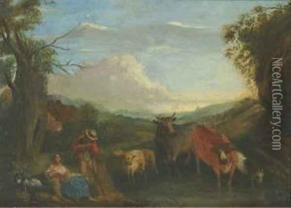 Shepherds With Cattle And Sheep Watering In A Wooded Landscape Oil Painting - Willem de Heusch