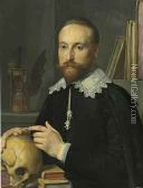 Portrait Of A Gentleman, Half-length, In A Black Coat And Whitelace Collar, With A Skull Oil Painting - Thomas De Keyser