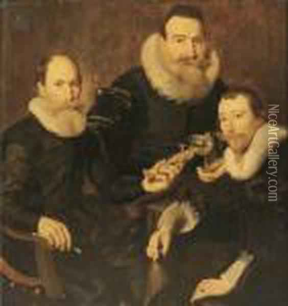 Group Portrait Of Three  Gentlemen, Three-quarter-length, Seated In Black Costumes With Lace  Collars And Cuffs Oil Painting - Thomas De Keyser