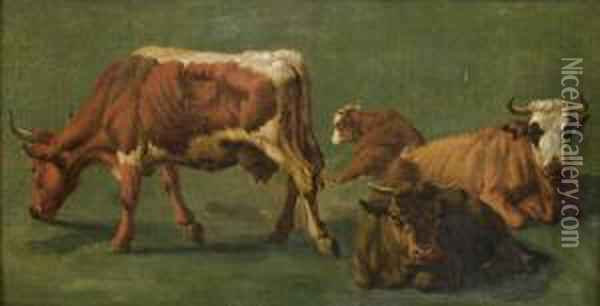 Etude De Vaches Oil Painting - Pierre Louis De La Rive